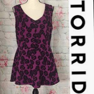 Torrid Deep Purple/Black Embroidered Peplum Tank